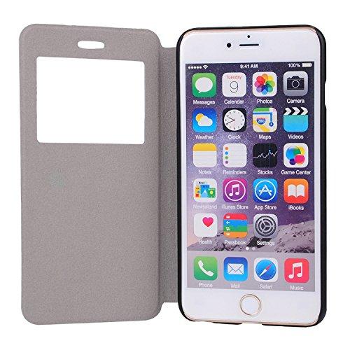MOONCASE Apple iPhone 6 Case Slim Window View Design Coque en Cuir Housse de Protection Étui à rabat Case pour Apple iPhone 6 / 6S (4.7 inch) XA05 XA06 #1223