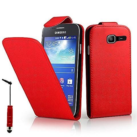 Samsung Galaxy Trend Lite S7390 Housse HCN PHONE® ULTRA FIN Etui Cuir PU à petit rabat vertical pour Samsung Galaxy Trend Lite S7390 + mini stylet - ROUGE