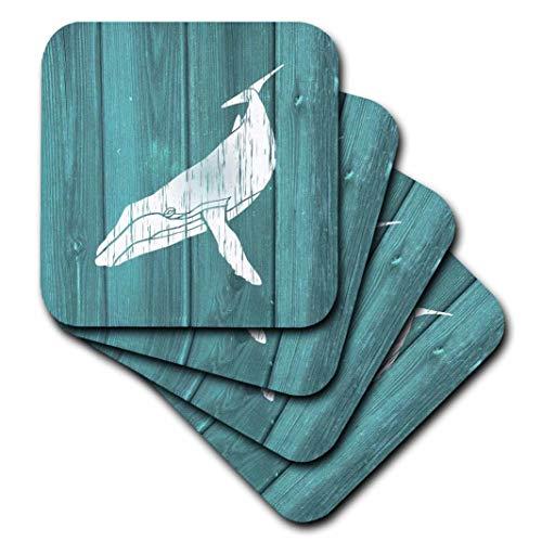 Teal Finish Holz (3dRose Humpback Whale Schablone in verblasster weißer Lackierung über Blaugrün, kein Echtholz-Keramikfliesenuntersetzer, 4 Stück (CST_220427_3), Mehrfarbig)