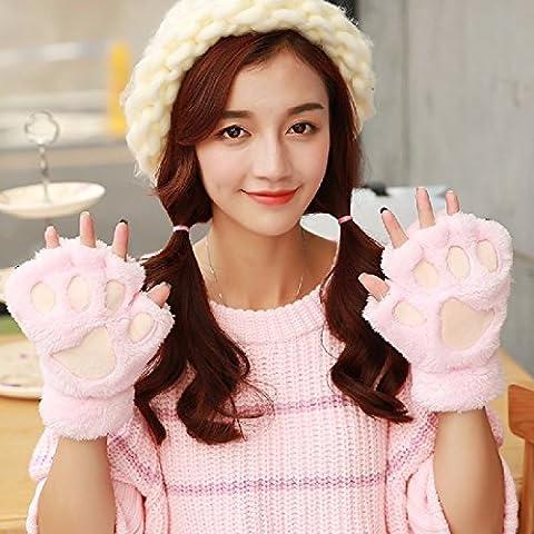 ZHGI Guantes de garra de tormenta de invierno mujer mitad significa espeso cálido invierno Cute dibujos animados coreano uña de gato,e invierno de felpa