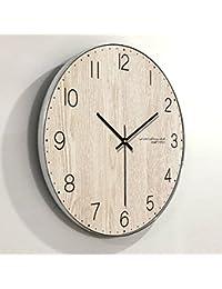 8a6310984f5e Wall clock Reloj de Madera Reloj Redondo Sala de Estar Dormitorio  silencioso Reloj de Pared Puntero
