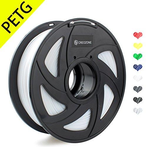 CREOZONE filamento PETG 1.75 1kg spool para la impresora 3d (Blanco)