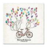 Madyes Leinwand Hochzeit Fingerabdruck Gästebuch Personalisiert Bike für Das Brautpaar als Geschenk, Hochzeitsdekoration, Namen mit Datum. 50x50 cm groß auf Keilrahmen Holz