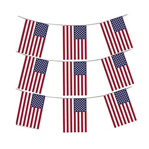 MEGA VALUE 3 x Packs 36 Foot 33 Flags Quality USA America Flag Bunting Party Decoration Banner 4th July US Independence Day