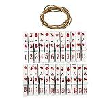 Adventskalender mit 24 Klammern aus Holz mit Zahlen + Kordel Schnur weiß