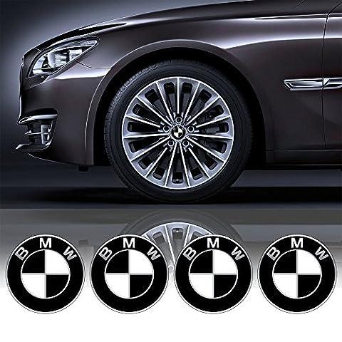 4 x 55 mm Durchmesser Schwarz Weiss BMW Rad Mitte Kappen Aufkleber Self Adhesive Emblem Decals