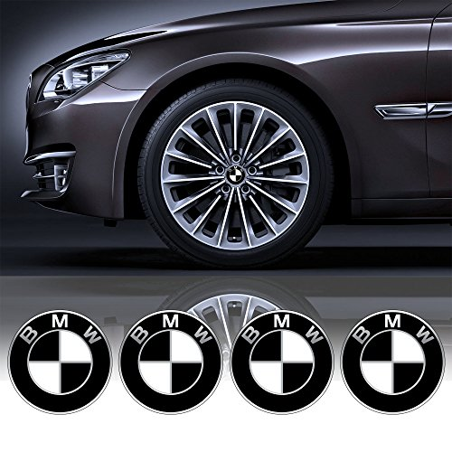 4 x 55mm Diametro Nero Bianco BMW centro di rotella di Cap Emblem Sticker autoadesivo Per Piso Superfici prezzo poco costoso - Centro Di Rotella Cap