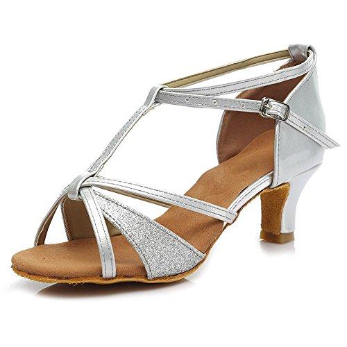 YFF Ragazze donne sala da ballo del tango latino della salsa scarpe da ballo 5cm e 7cm di tacco Silver 5cm