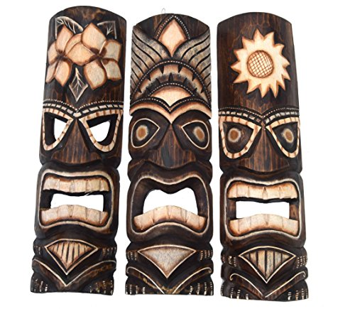 3 Tiki Wandmasken 50cm Wandmaske Tiki Maske Hawaii Holzmaske Masken Holzmaske