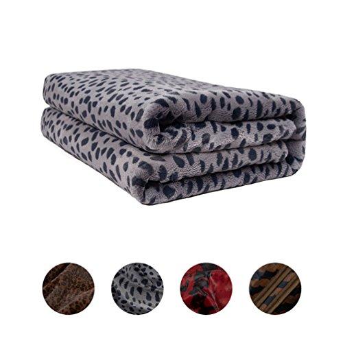 LOVE YANQI Wolke Samt Decke gemütliche Plüsch Mikrofaser Solid Sofa Bett werfen 160x200cm(grau Leopardenmuster)