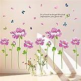 Stickers muraux maison pivoine pourpre stickers muraux salon TV fond mur amovible stickers muraux chambre romantique chaud stickers muraux