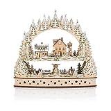 Großer Schwibbogen mit dekorativer Winterlandschaft und 22 LED´s (Silber)