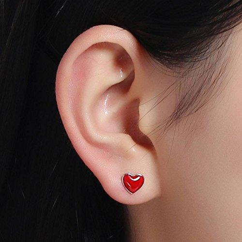 Hypoallergen Glückliches Glück Kleines Rotes Herz Ohrringe Weiblich S925 Sterling Silber Süße Süße Herz Anhänger Ohrringe Temperament Zubehör , Sterling Silber 925 (nicht mit Ohrstöpsel)