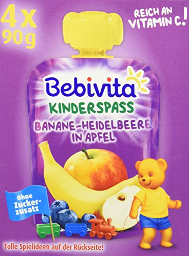Bebivita Kinder-Spaß, Banane-Heidelbeere in Apfel, 4er Pack (4 x 90 g)