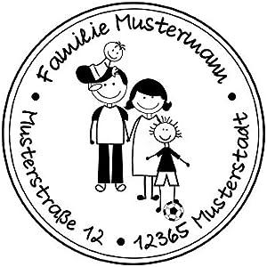 Familienstempel   Adressstempel   Familienmitglieder mit Familienname und Adresse   Eltern mit 1 Jungen und Kleinkind