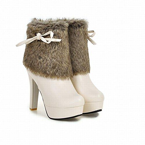 Mee Shoes Damen Pompon Reißverschluss Plateau high heels Stiefel Beige