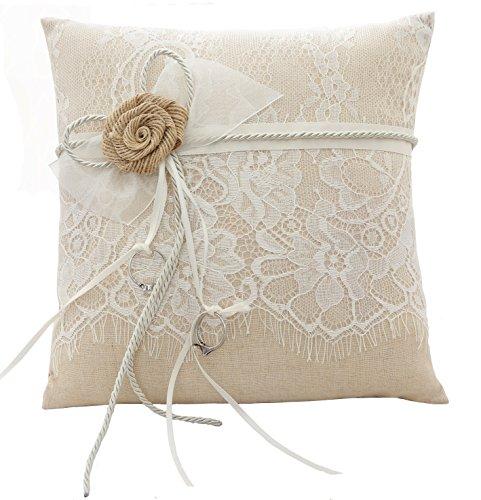 Cuscino ricamato per fedi nuziali, fantasia floreale, con fiocchetto, 21 cm x 21 cm (Jute)