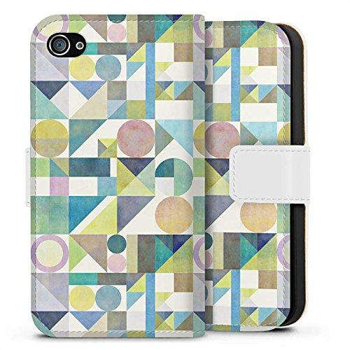 Apple iPhone X Silikon Hülle Case Schutzhülle Muster Grafisch Abstrakt Sideflip Tasche weiß