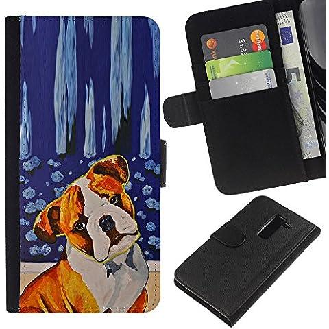 Red Fawn Boxer American Bull Terrier Dog - la tarjeta de Crédito Slots PU Funda de cuero Monedero caso cubierta de piel LG G2 D800