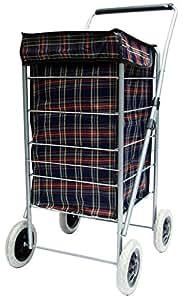 4 wheel shopping navy tartan waterproof folding trolley