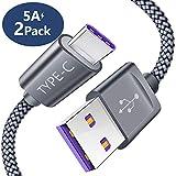 USB C Kabel 5A [1M 2 Stück] JSAUX Nylon USB Typ C Schnell Ladekabel für QC 3.0 Device Huawei P10 P20 P9 Lite, Mate 9 10 Pro, LG G7 G6 G5 V30 V20, HTC 10 U11, OnePlus 5 2 3 3t, Moto z Force usw - Grau
