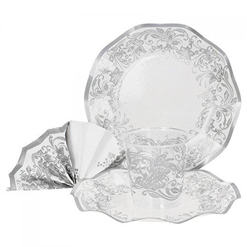 MamboCat 60-TLG. Einweggeschirr Party-Set Diana mit Silber-grauen Ornamenten | Pappgeschirr für 20 Personen: Pappteller + Becher + Servietten | für Festliche Anlässe und Partys (Hochzeit Teller Besteck Und)