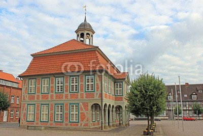 Alu-Dibond-Bild 140 x 90 cm: 'Barockes Rathaus in Boizenburg (Mecklenburg-Vorpommern)', Bild auf...