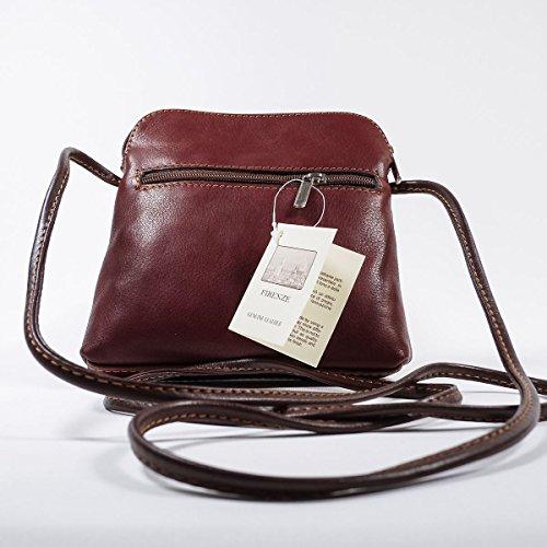 Vera italiana piccolo in morbida pelle croce corpo borsa a tracolla borsetta, Light Taupe (Multicolore) - PS49 Caffè chiaro