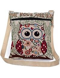 Flache Umhängetasche | Schultertasche | Stofftasche | Tragetasche | Messenger Bag für Damen im bestickten Ethno Style mit lustigem Eulenmotiv
