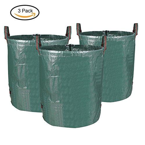MVPOWER 3er Gartensack 272L Gartenabfallsack aus robuste PP - selbststehend und faltbar - Abfallsäcke für Gartenabfälle Laub Rasen Pflanz Grünschnitt (3xSäcke)