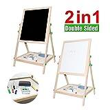 Haehne 2-in-1 Lavagna - Bambini Camera da letto di legno Doppia faccia Tavola da disegno gesso, Bambini che imparano lavagna, Cavalletto Junior Art Standing di lusso