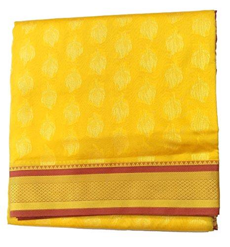 Nauvari saree (Nine Yards Silk Saree) With Reshim Butti And Border (Color-Yellow...