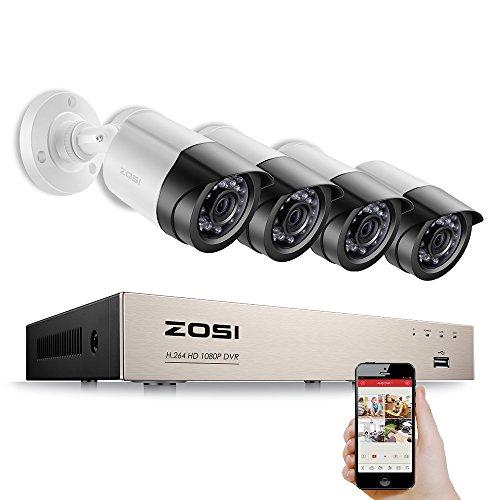 ZOSI-4CH-1080P-HDMI-VGA-P2P-DVR-con-4pcs-Cmara-1920TVL-Exterior-24pcs-LEDs-20M-Vision-Nocturna-Lente-36mm-Vigilancia-de-Seguridad-Deteccin-de-Movimiento-Escanear-cdigo-QR-para-Acceder-con-ms-Rapidez