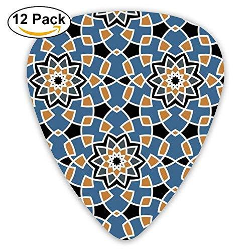 Rock Tile (Medium Pink Multicolor Tiles Patchwork Celluloid Guitar Picks Unisex 12 Packs,0.46/0.73/0.96 Mm Guitar)