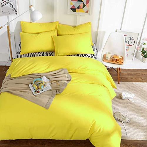 SHJIA Gewaschene Bettwäsche Set kühl und frisch Bettbezug Set Bettlaken Kissenbezüge Königin King Size gelb 220x240cm - Gelb Bettbezug King-set