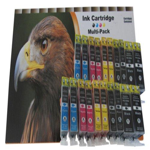 Conjunto de 20 cartuchos de tinta compatibles con Canon Pixma IP4200 IP4300 IP5200 IP5300 / Canon Pixma MP500 MP530 MP600 MP600R MP610 MP800 MP800R MP810 MP830 MP970 / Canon Pixma MX 850 / Canon Pixma IP 4200 4300 4500 4500x 5200 5200r 5300 con chip. Contiene: x4 Blanco (grande) compatible con PGI-5BK 28 ml / x4 Negro (pequeño) compatible con CLI-8BK 14 ml / x4 Azul CLI-8C 14 ml / x4 Rojo CLI-8M 14 ml x4 Amarillo CLI-8Y 14 ml