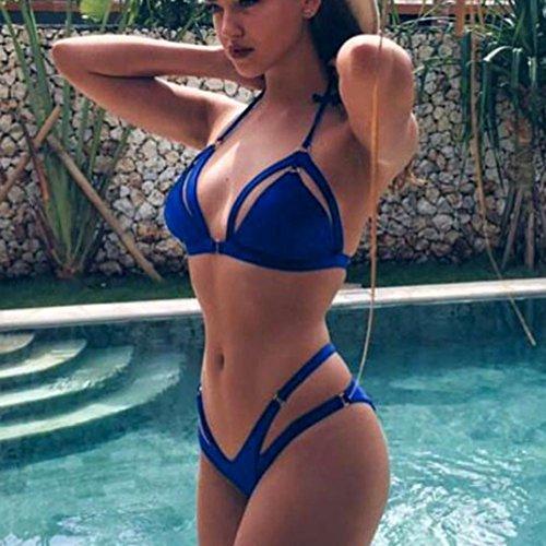 Femmes Maillot de bain,Xjp Bandage Col Pendu Piqûre Cross Soutien-gorge Rembourré Push-up Bleu