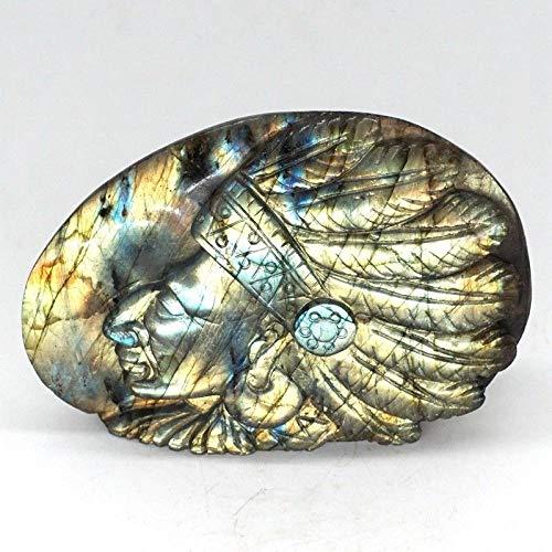 LQCN Indios Jefe Estatua Flash Piedra Preciosa Natural