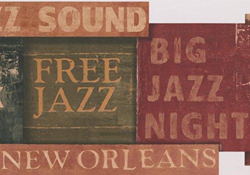 Preisvergleich Produktbild York Wallcoverings Vintage Jazz braun grün rot braun Festzelte Wallpaper Border Retro Design,  Roll-15' x 9, 5 ''