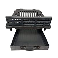 "Manor A.L.Cast Iron Fire Grate With Coal Guard and Ash Pan for 16"" Open Fireplaces"