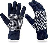 Thermo Strick Handschuhe mit Thinsulate Futter Unisex - Erwachsene mit Norweger Motiv Farbe Blue Spikes Größe S/M