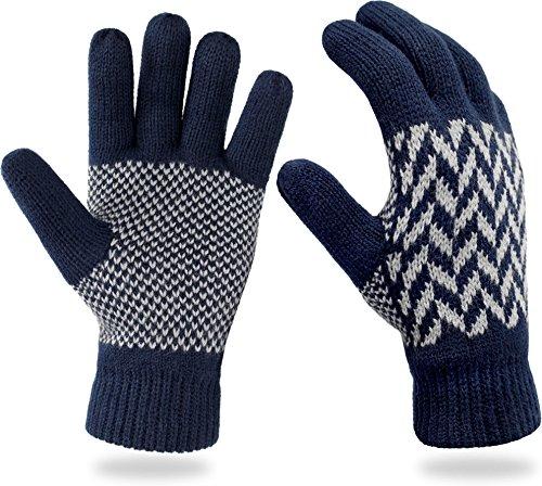 normani Strick Fingerhandschuhe mit Thinsulatefütterung Winterhandschuhe Farbe Blue Spikes Größe L (Damen Thinsulate Handschuhe)