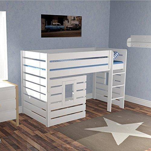 Hochbett Spielbett Hüttenbett BEACH Weiß umbaubar zum Basisbett Tagesbett 3 Panele (2 mit Fenster) für das echte Höhlenerlebnis #10961