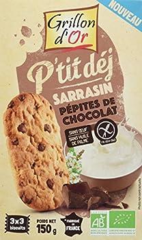 Grillon d'or Biscuits Petit Déj' Sarrasin/Chocolat 150 g - Lot de 4