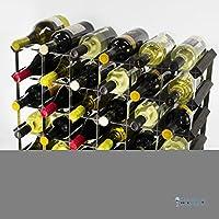 Classic 30 bottiglia (6x4) nero in legno colorato e nero di vino, in metallo Pronto assemblati