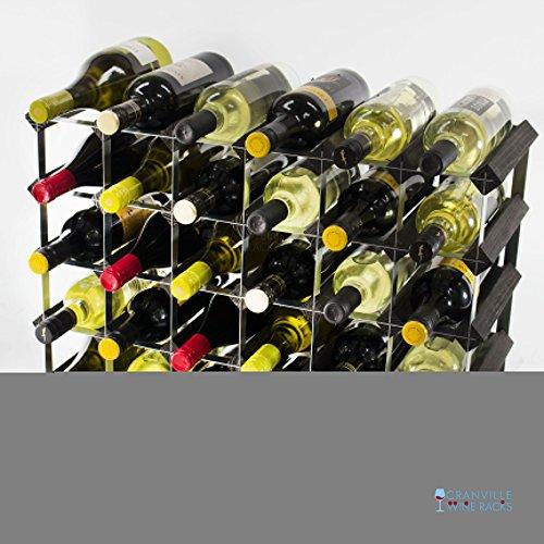 Classic 30(6x 4) Bouteille noire en bois teinté et casier à vin en métal galvanisé prêt assemblé