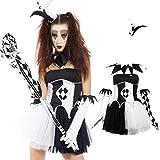 Maboobie - Disfraz de bufón tenebroso para mujer Adulto Talla unica Fiestas Temáticas Carnavales Halloween