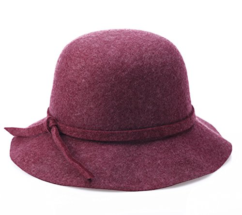 Damen Cloche Bucket Hat Runde Mützen Winter Mütze (lila) (Cloche Bucket)