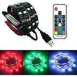 WYBAN 100 cm DC 5 V Striscia USB TV Flessibile Impermeabile retroilluminazione RGB LED barra luminosa Kit, con Telecomando a RF(Radiofrequenza) , per TV, PC, Monitor LCD, Camera da letto ecc(ridurre l'effetto occhi fatica e aumentare la nitidezza delle immagini) (Nero 1m)
