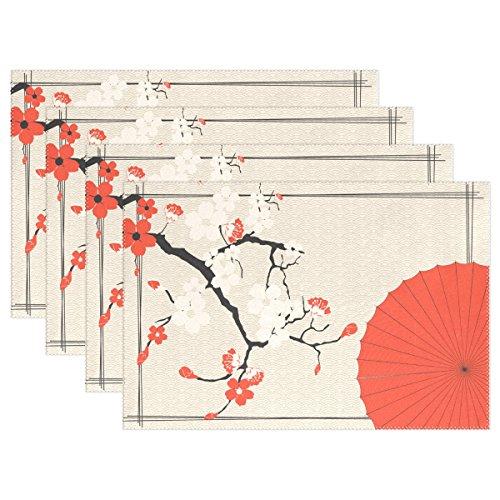LIANCHENYI Japanische Dach und Cherry Sakura hitzebeständig Platzsets, Polyester Platzset Tischset für Küche Esszimmer 1Stück, Polyester, Multi, 12x18x1 in -